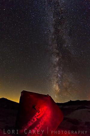 Milky Way and mining equipment, Mojave desert