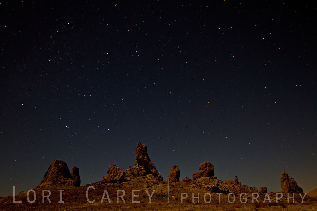 Trona Pinnacles at night.