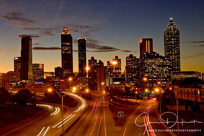 Atlanta Skyline, Jackson  Street Bridge at Dusk