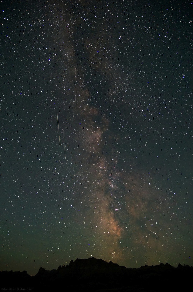 Milky Way and Shooting Stars over the Badlands
