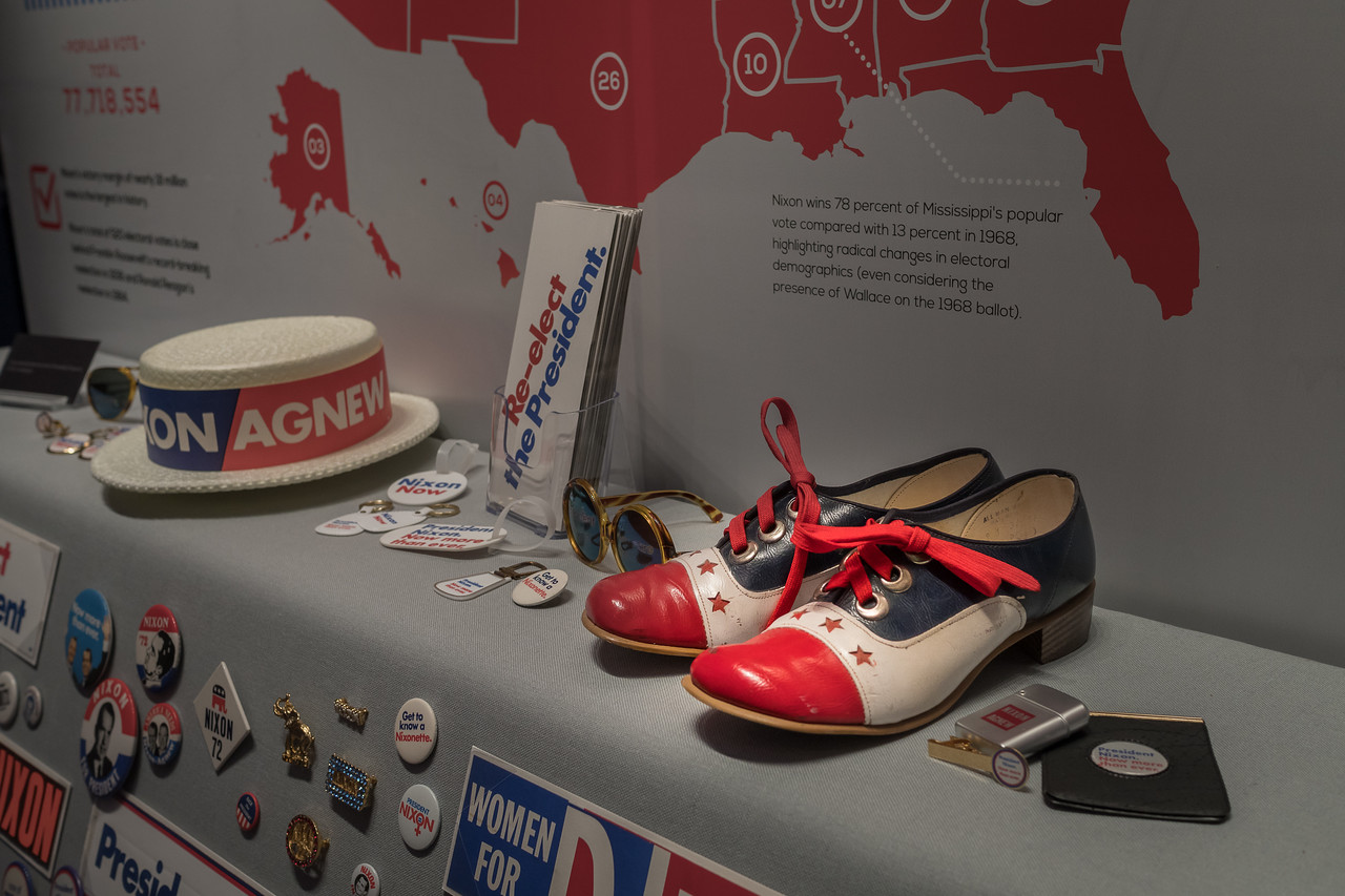 Memorabilia from the 1972 campaign on display at the Nixon Library