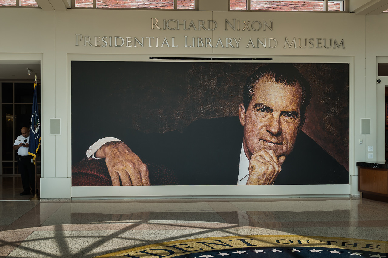 A portrait of the president overlooks the lobby of the Nixon Library in Yorba Linda
