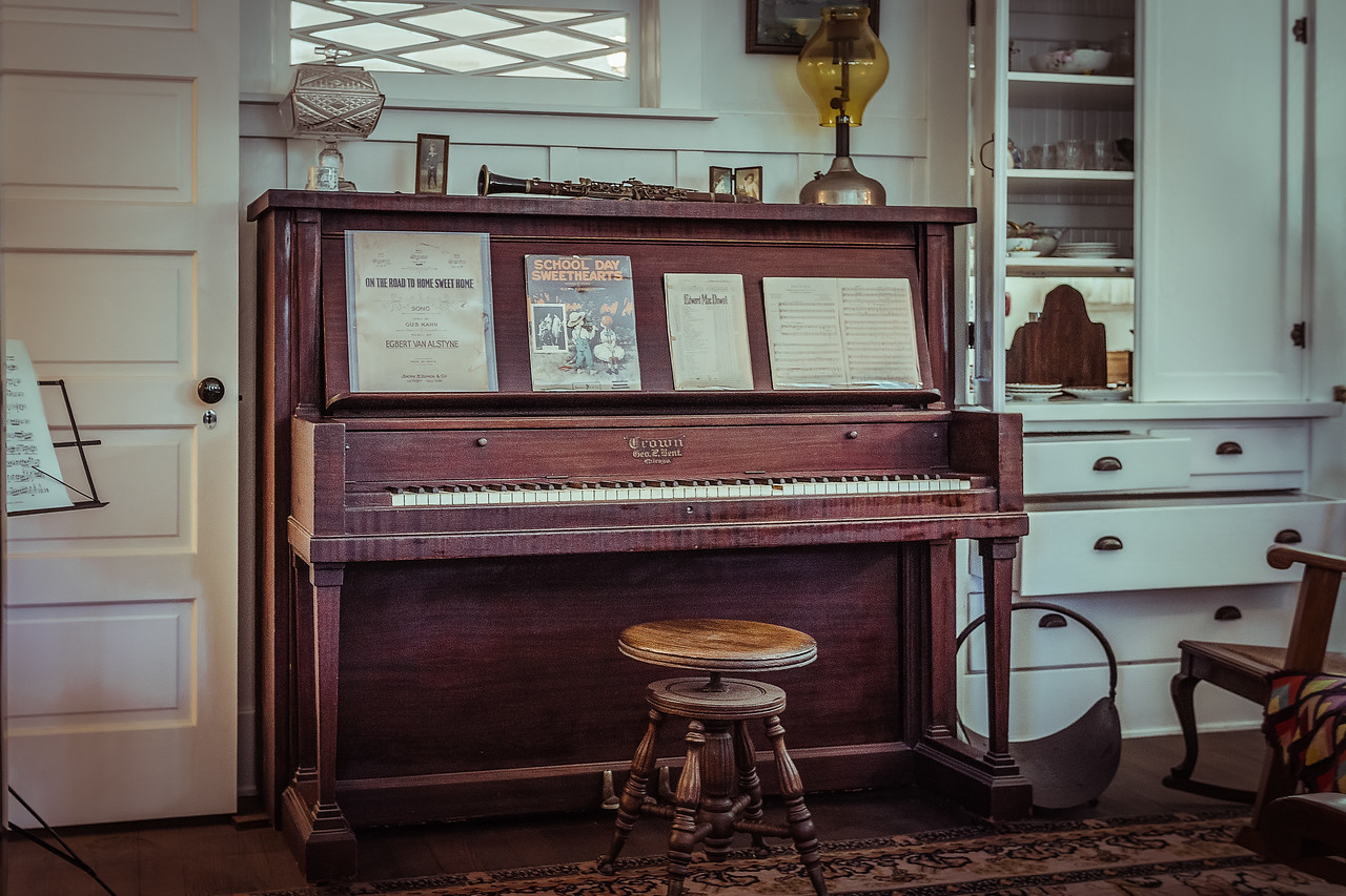 The sitting room of the Nixon home was filled with musical instruments