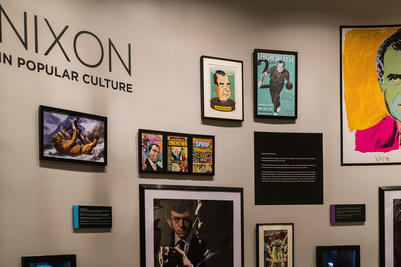 Nixon in Pop Culture on display at the Nixon Library