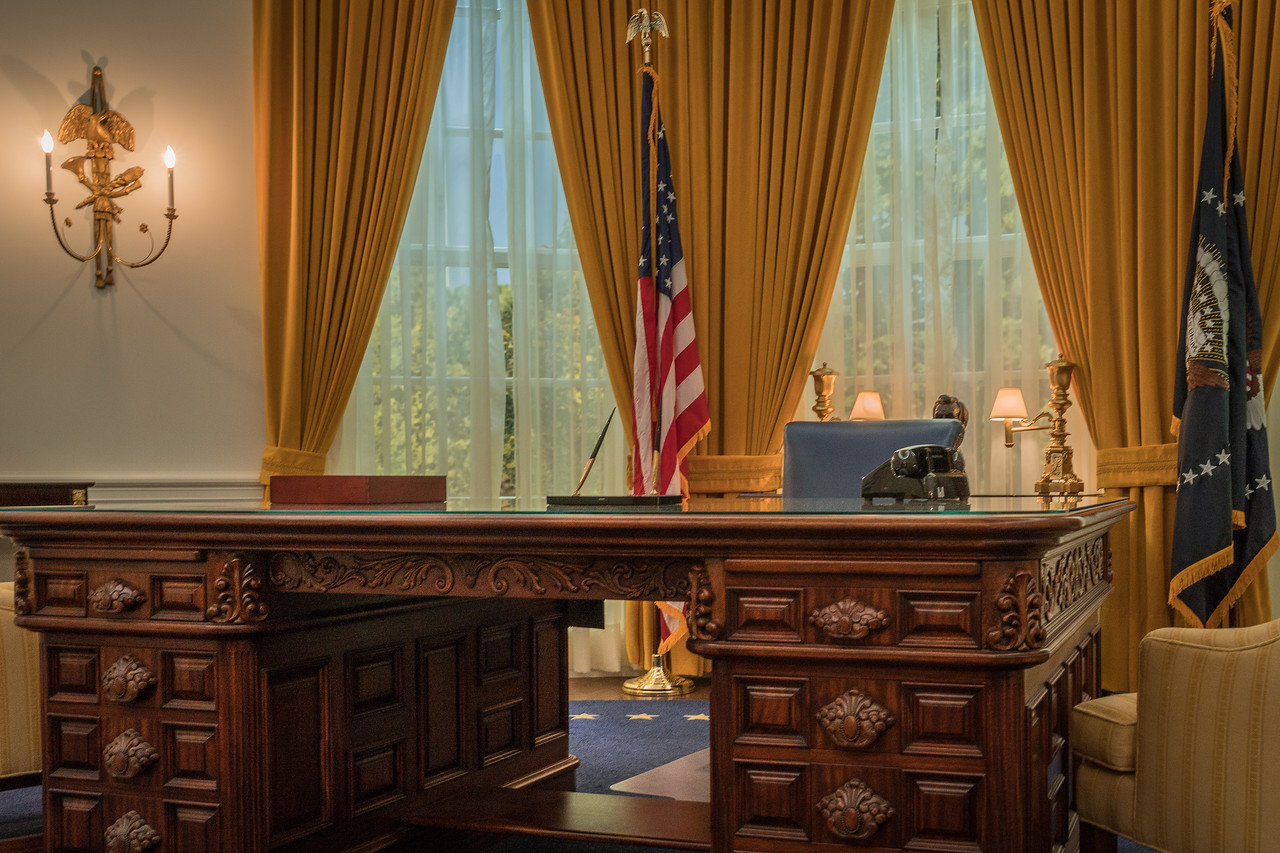 The Nixon Oval Office on display at the Nixon Library