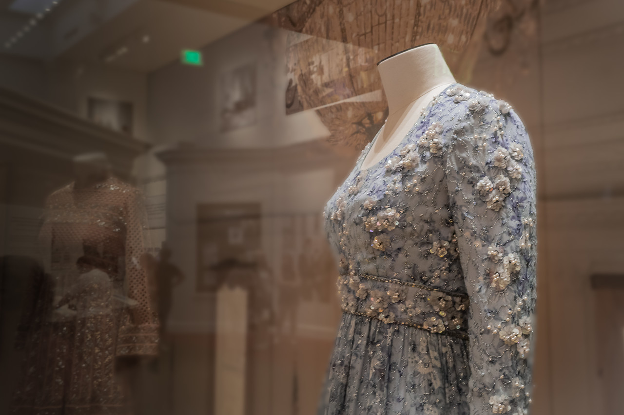 One of the first lady's gowns on display at the Nixon Library