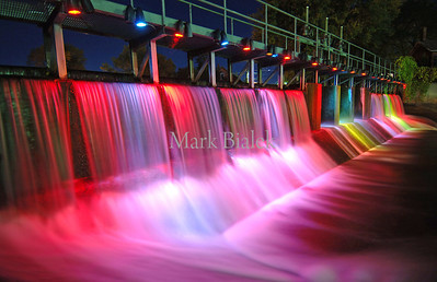 18 Oct 2005 - Colored lights illuminate the spillway at the end of Palmer Lake in Colon, MI Tuesday night.  Colon is the magic capital of Michigan.