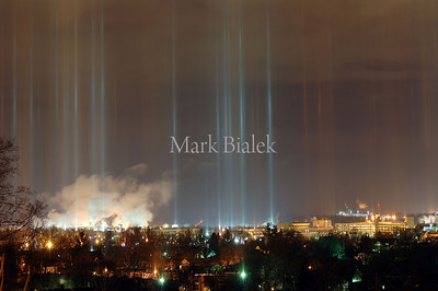"Lights over Kalamazoo reflect off of tiny ice crystals high in the air Saturday night on Feb 18, 2006.  This rare weather event is termed ""ice lights."""