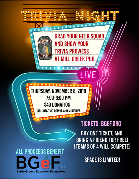 Trivia Night Poster for Battle Ground Education Foundation