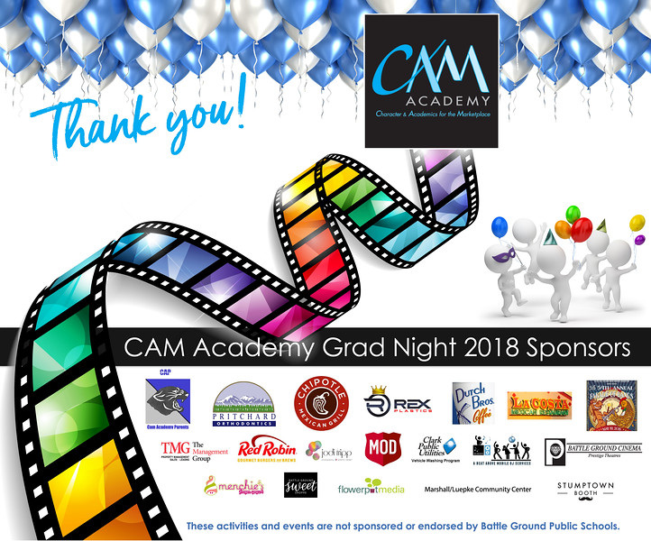 CAM Academy Grad Night 2018 Thank you poster