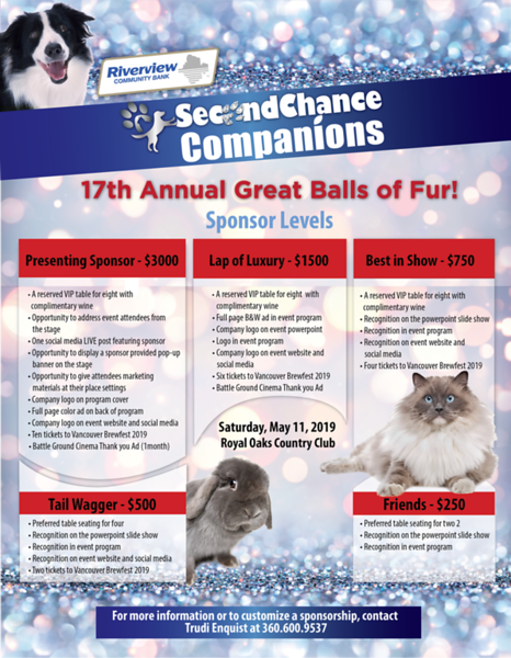 Second Chance Companions Sponsor Sheet 2019