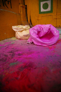 Empty powder bags in preparation for the Holi Festival, Bundi
