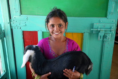 Seema and her goat, Sam Sand National Park