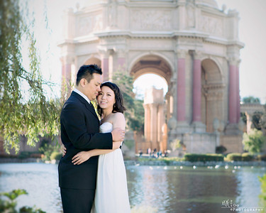 San Francisco Engagement at Palace of Fine Arts and Crissy Field Beach