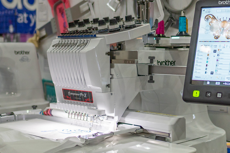 Detail of 10-needle embroidery machine by Brother