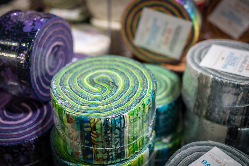 Jelly rolls on for sale at the Private Source Quilting booth.