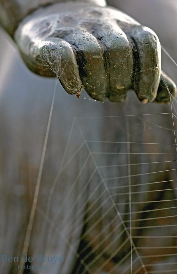 Statute hand with spider web