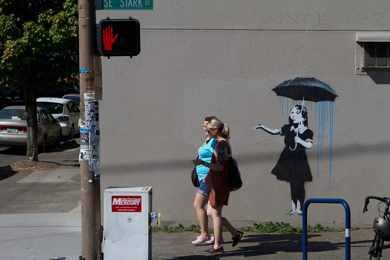 Fake Banksy Umbrella Girl