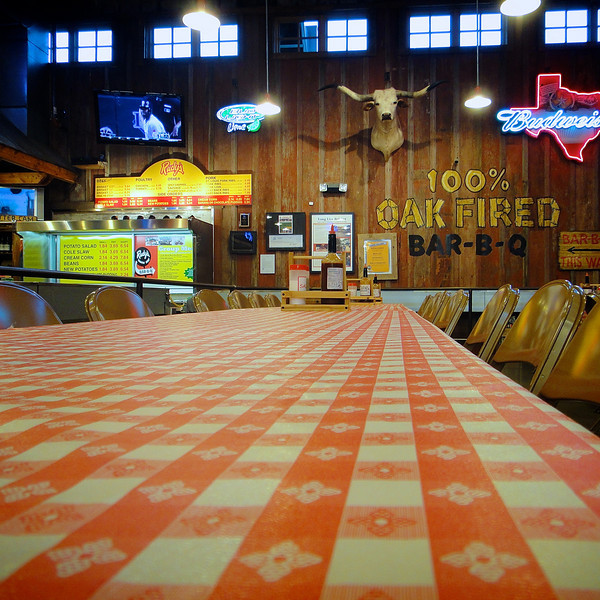 A Table at Rudy's - Austin, Texas