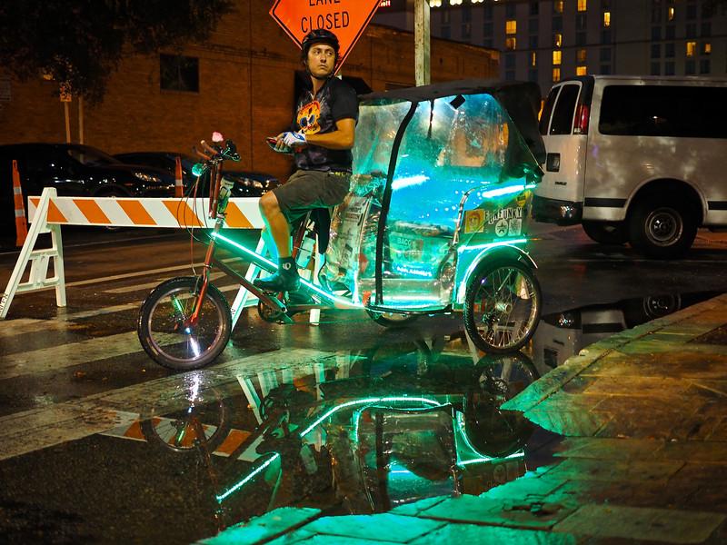 Pedicab Reflection, 6th street - Austin, Texas