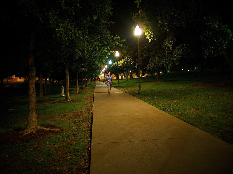 Walkway at Night, University of Texas - Austin, Texas