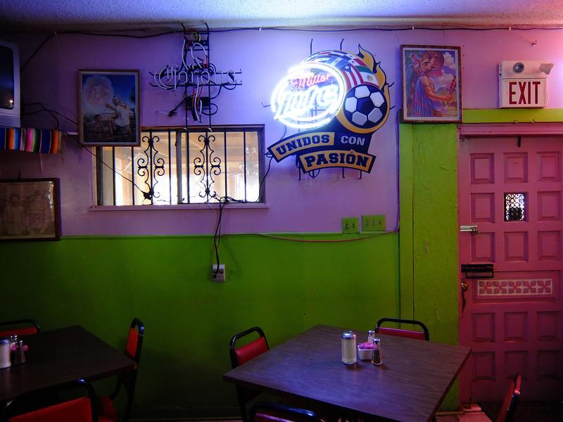 Neon Lit Entry, El Azteca Restaurant - Austin, Texas