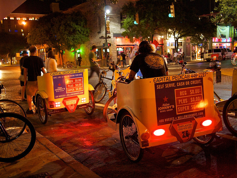 Pedicabs on 6th Street - Austin, Texas