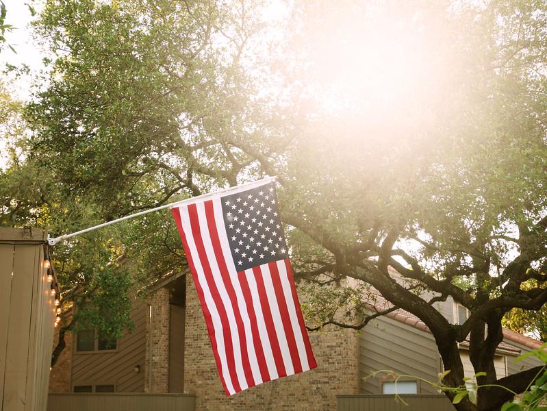 Sunshine and US Flag - Austin, Texas