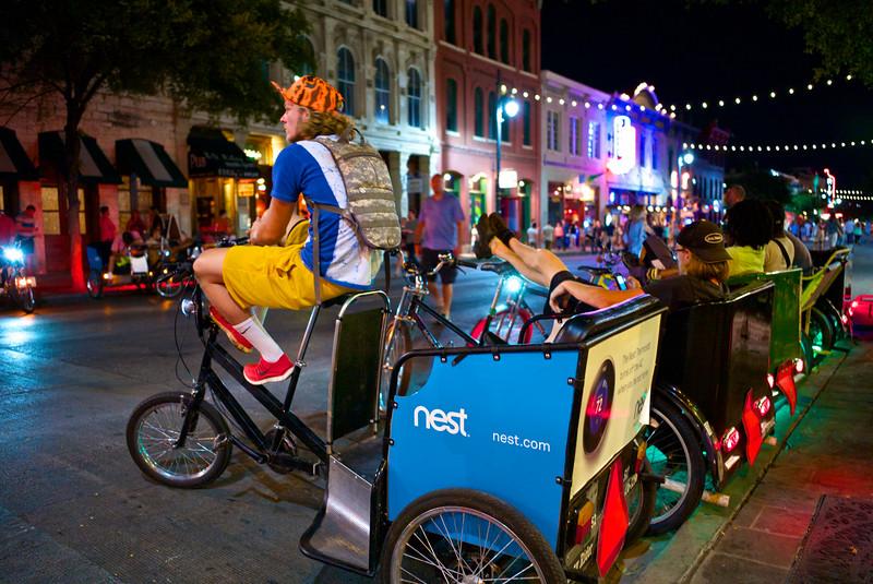 Pedicabs in Waiting, 6th Street - Austin, Texas