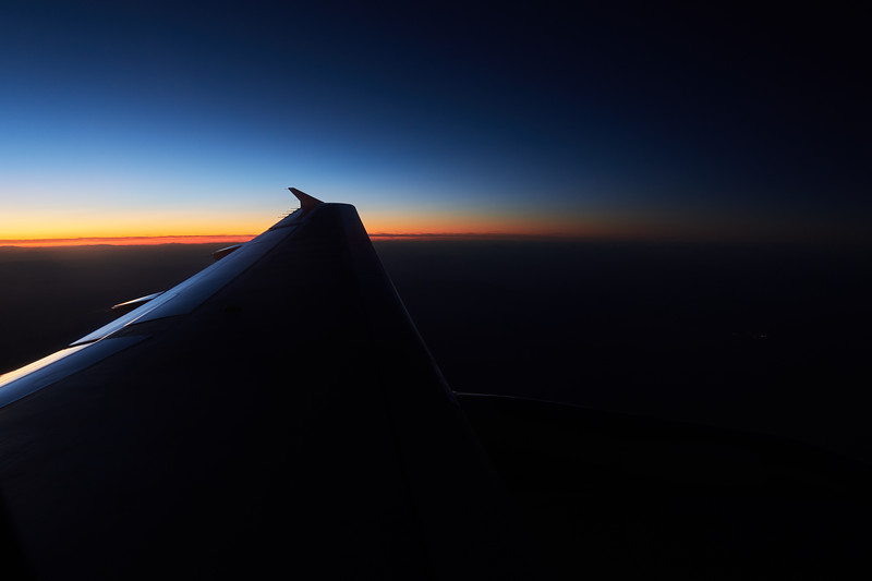 Colorful sliver, Sunrise from an Airplane