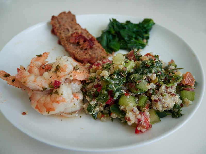 Shrimp, Quinoa, Meatloaf and Spinach - Austin, Texas