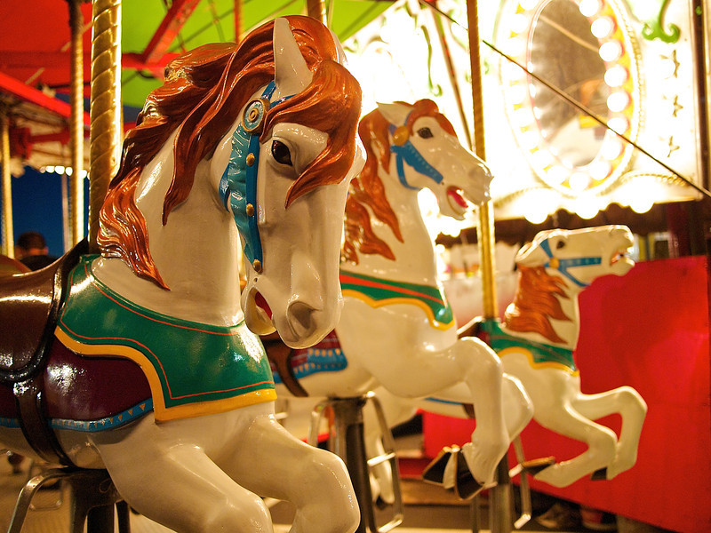 Galloping Carousel Horses, Parking Lot Carnival - Round Rock, Texas