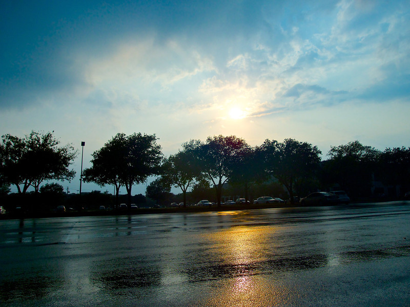 After the Rain, Suburban Parking Lot - Austin, Texas