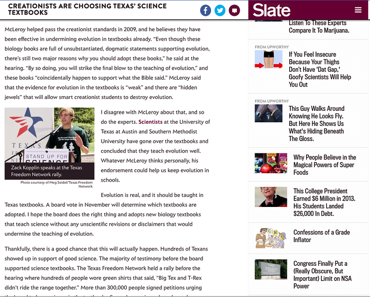 A couple of my photos from Texas Freedom Network's efforts to keep creationism out of public school science textbooks rally ran in the Slate!
