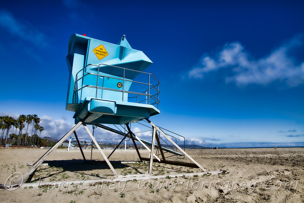"""""""No Lifeguard on Duty"""". Lifeguard stand at Doheny Beach State Park in Dana Point, California"""