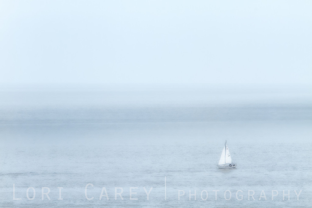 Sailboat in fog