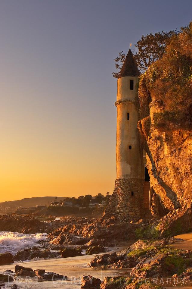 "Victoria Beach Tower ""La Tour"" at sunset, Laguna Beach, CA"