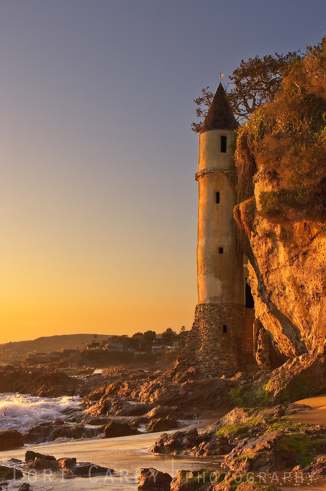 "Victoria Beach Tower ""La Tour"" at sunset, Laguna Beach, CA"