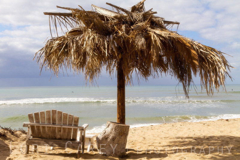 Palapa and bench on San Onofre Beach in San Clemente, California