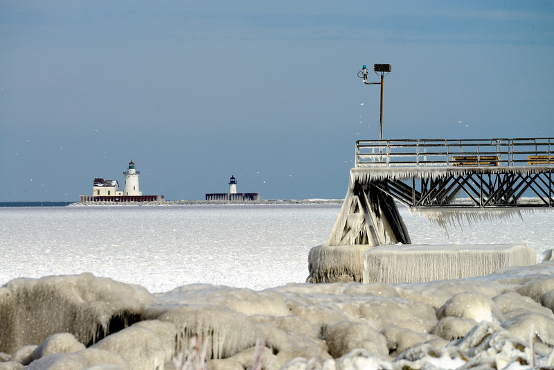 Pier and Cleveland Harbor Lighthouse