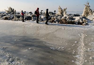 Photographers on the icy walkway at Gordon Park - Cleveland Ohio