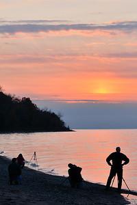 Photographers at Sunset - Lake Metroparks
