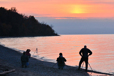 Photographers at Sunset - Lake Metroparks