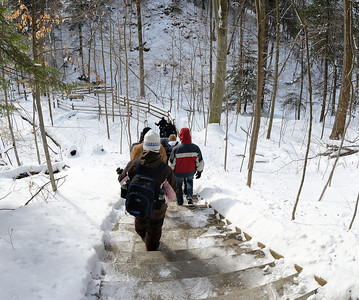 A Winter Hike through the Penitentiary Glen Gorge - Headed down 141 steps to the gorge.