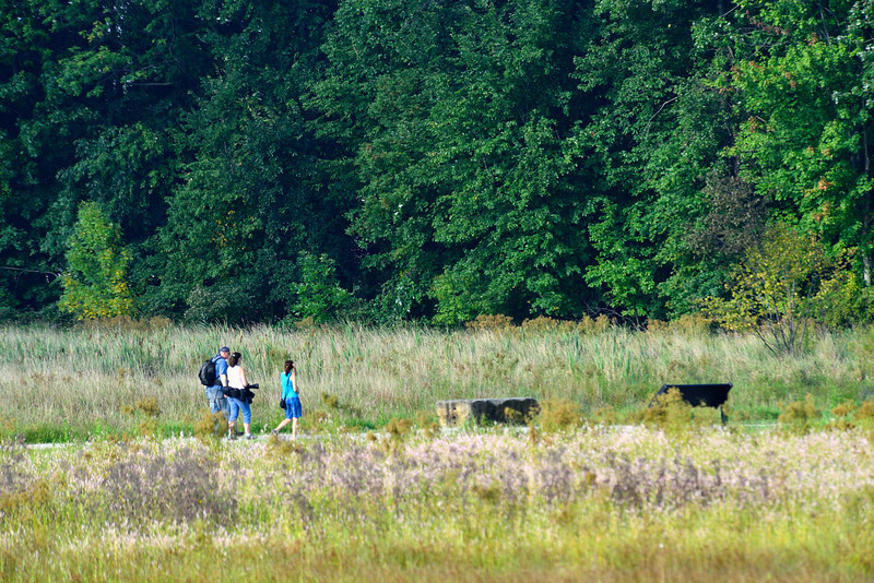 Richard, Barb and Janet walking the Sandy Ridge trail