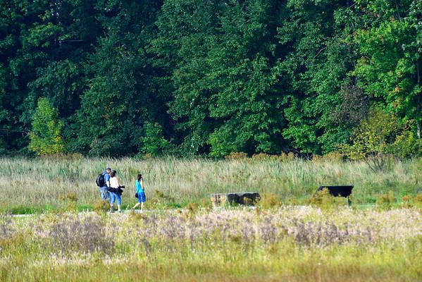 Richard, Barb and Janet walking the Sandy Ridge trail