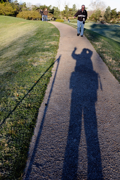 Fred coming to shake my shadows hand. - Dawes Arboretum
