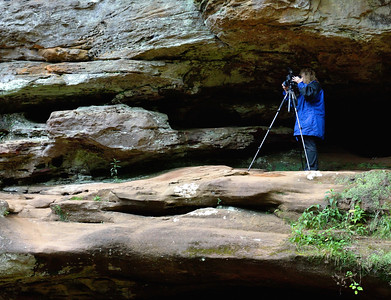 Looks like Eilene is caught between a rock and a hard place. - Hocking Hills