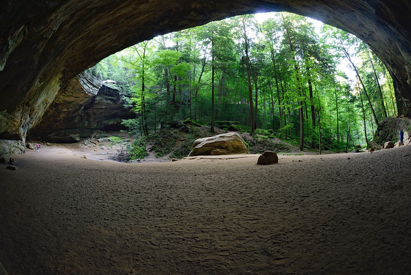 A teeny weeny Jean Nester at Ash Cave.... with the fisheye  (Thanks for wearing that bright pink top jean!)