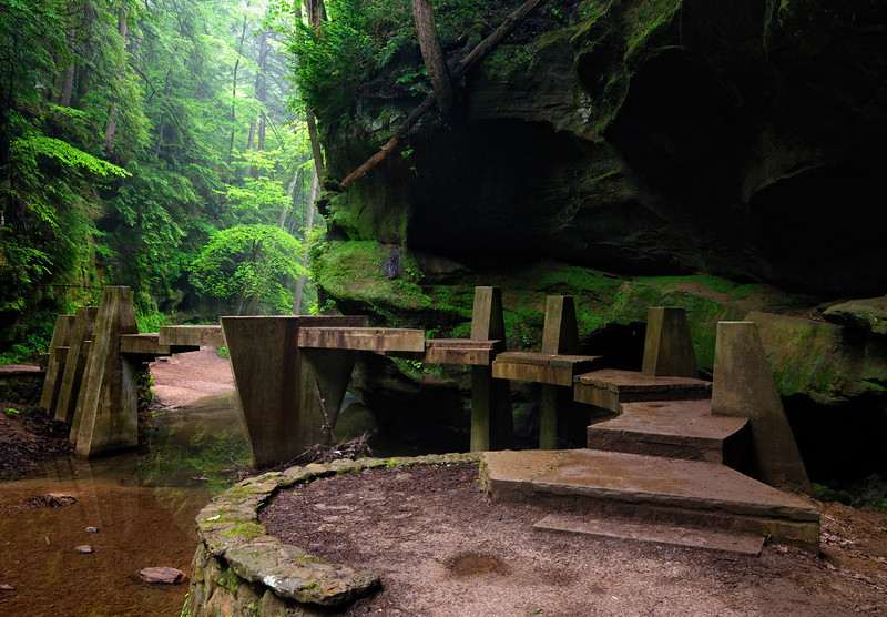 Bridge in the Old Man's Cave Gorge - Hocking Hills State Park